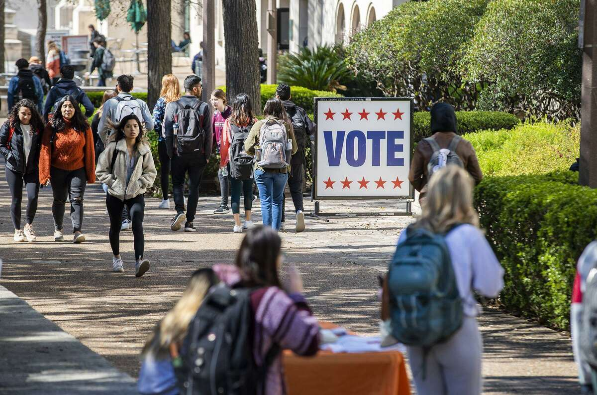 Early voting is available for University of Texas students on campus in Autstin, Texas, on February 18, 2020, ahead of Super Tuesday. (Ricardo Brazziel/Austin American-Statesman/TNS)