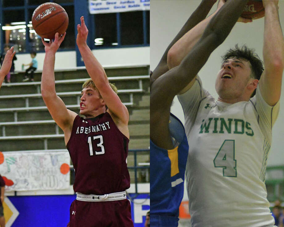 Seniors Bryson Daily of Abernathy (left) and Garrett Hobbs of Floydada each earned All-State honors from the Texas Association of Basketball Coaches. Photo: Photos By Nathan Giese