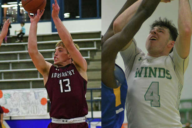 Seniors Bryson Daily of Abernathy (left) and Garrett Hobbs of Floydada each earned All-State honors from the Texas Association of Basketball Coaches.