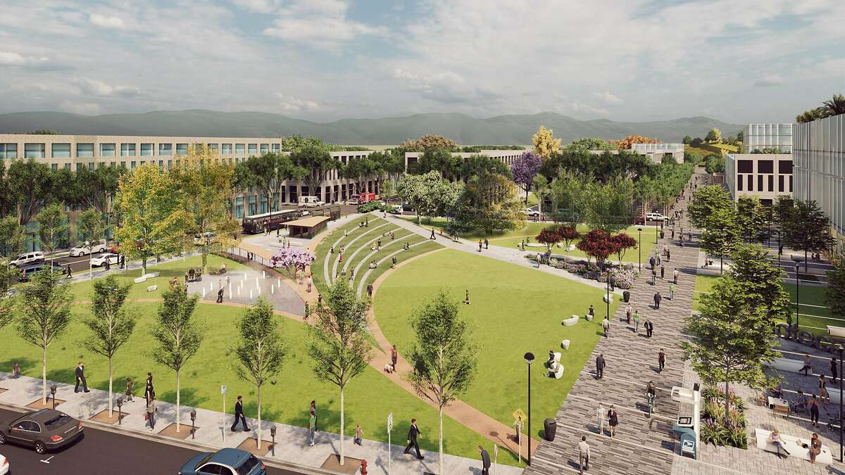 A rendering showing one of the parks conceived as part of the 2,300-acre transit-oriented district envisioned for the former Concord Naval Weapons Station. The developer, Lennar, was selected in 2016 by the city of Concord.
