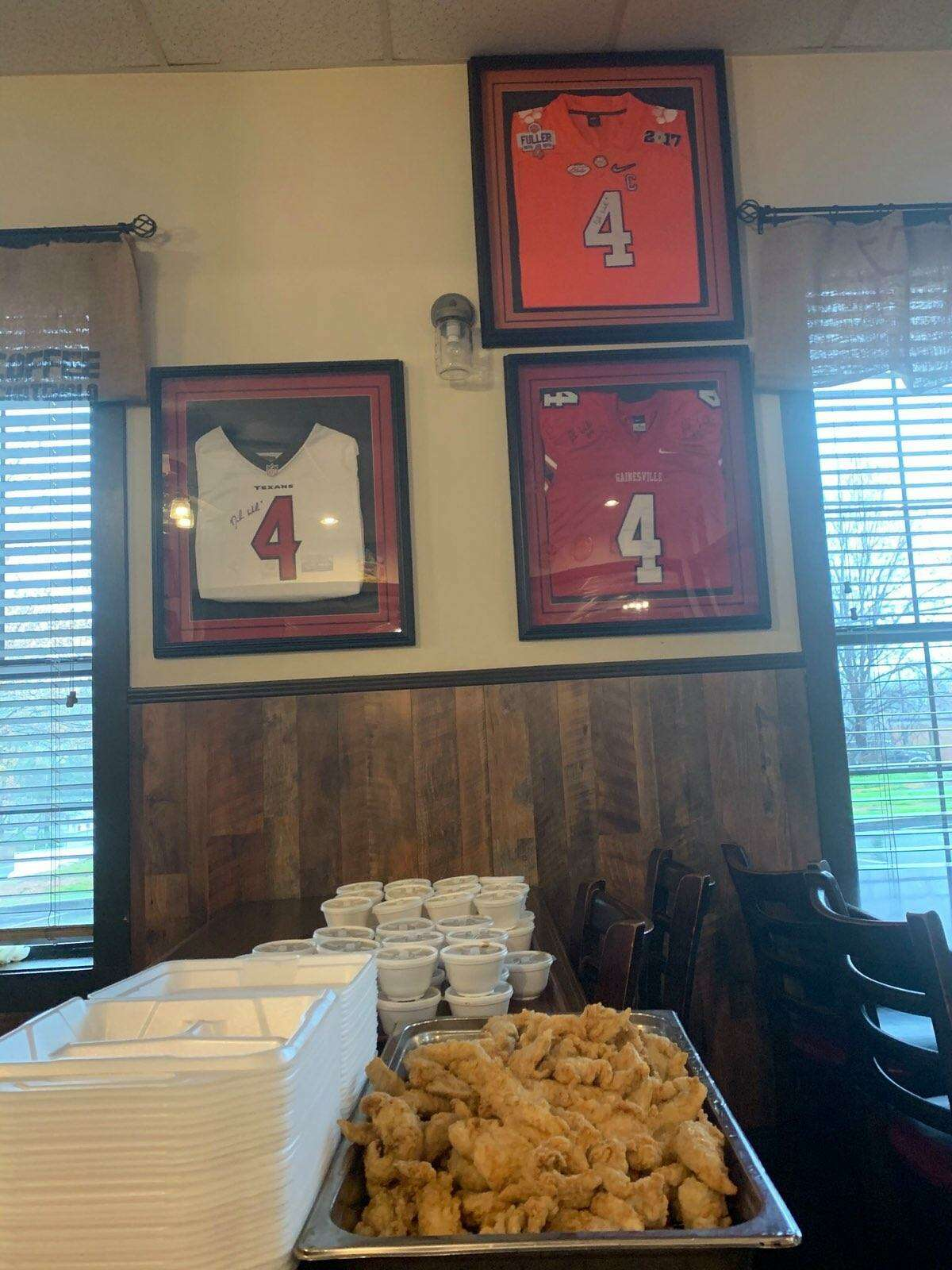 Houston Texans quarterback Deshaun Watson teamed up with his hometown pastor Michael Thurmond and his favorite restaurant in his hometown of Gainesville Ga., Longstreet Cafe, to provide meals to first responders on the front lines of the coronavirus pandemic.