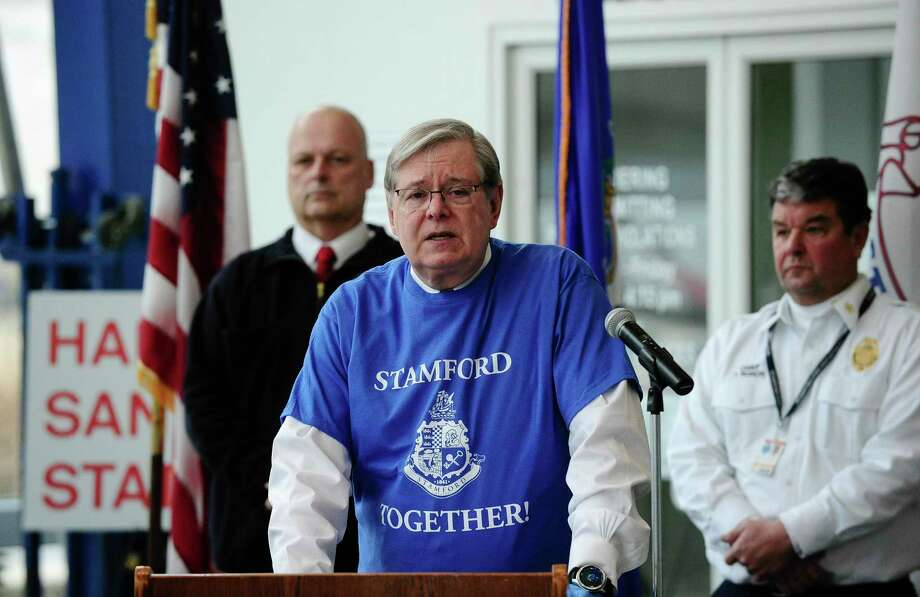 "Mayor David Martin announces ""Stamford Together,"" a citywide volunteer program to help support the emergency response efforts related to the COVID-19 pandemic, during a press conference in the lobby of the Stamford Government Center on Wednesday. Photo: Matthew Brown / Hearst Connecticut Media / Stamford Advocate"