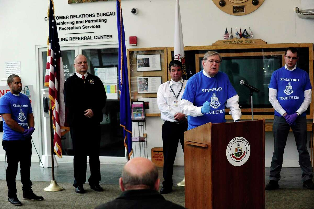 """Mayor David Martin announces """"Stamford Together"""", a citywide volunteer program to help support the emergency response efforts related to the Covid-19 pandemic, during a press conference in the lobby of the Stamford Government Center on March 25, 2020 in Stamford, Connecticut."""