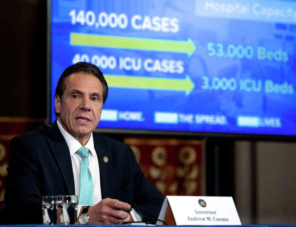 Gov. Andrew Cuomo provides a coronavirus update during a briefing on Wednesday, March 25, 2020, in the Red Room at the Capitol in Albany, N.Y. (Office of Gov. Andrew Cuomo)