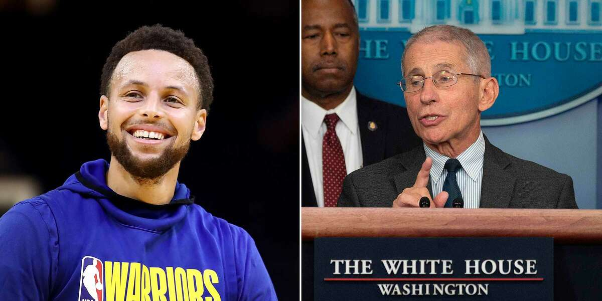 Stephen Curry, left, held an Instagram Q&A session with Dr. Anthony Fauci.