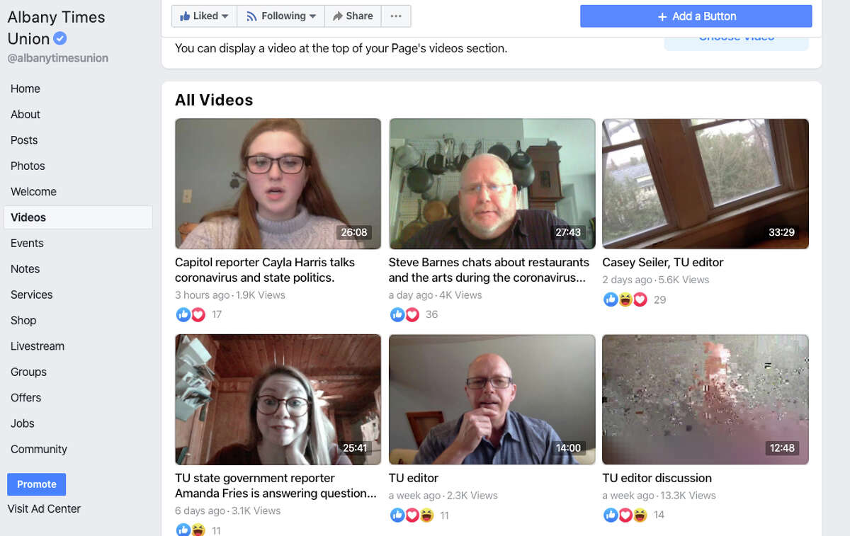 Watch videos and comment on stories on theTimes Union Facebook page. You can watch Facebook Live broadcasts with our reporters covering the pandemic.