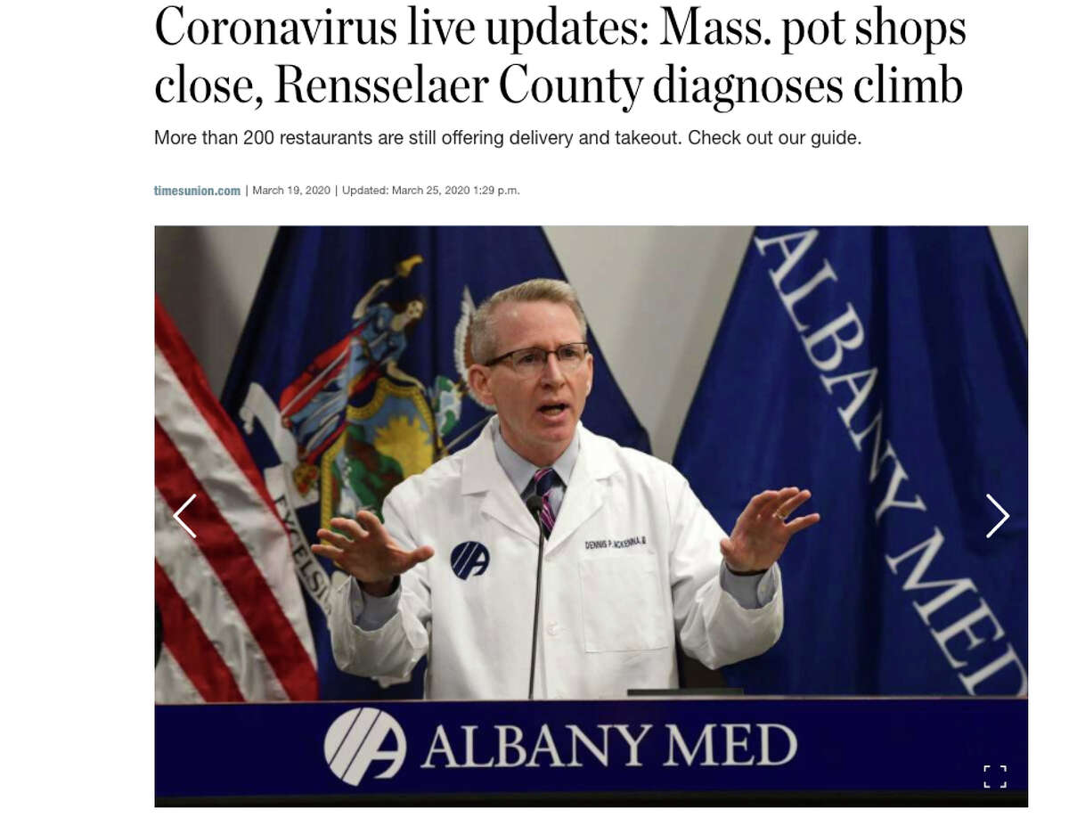 """Read the """"Live Update"""" story, which has hour-by-hour bullets of the day's breaking news around coronavirus. You can always find the """"Live Updates"""" story in the right rail of the homepage at https://www.timesunion.com. If you don't have much time, this is the perfect story to learn the top news of the day."""