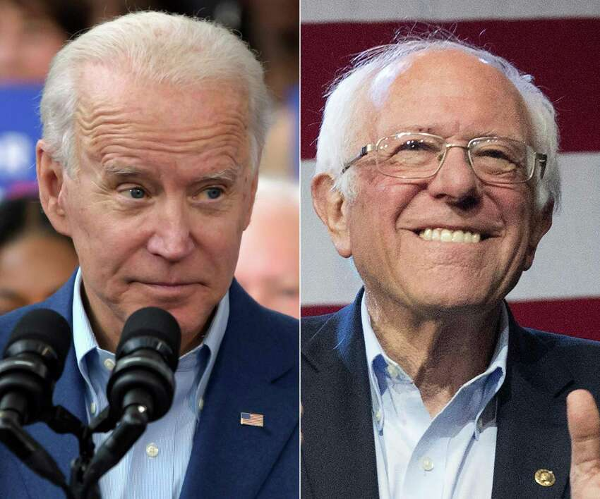(FILES This combination of file pictures created on March 4, 2020 shows Democratic presidential candidate Joe Biden(L) speaking to supporters during a rally on March 2, 2020 at Texas Southern University in Houston, Texas, and Democratic White House hopeful Vermont Senator Bernie Sanders speaking during a campaign rally at the Convention Center in Los Angeles, California on March 1, 2020. - Joe Biden's trajectory to a November showdown with President Donald Trump looked unstoppable on March 11, 2020 after he scooped a series of devastating primary wins -- as the party waited anxiously to see if his rival Bernie Sanders would concede and rally behind the presumptive nominee. Pressure was mounting on Sanders to end his campaign as Biden inflicted defeats in Mississippi, Missouri, Idaho and Michigan, carving a clear path to becoming the Democratic standard bearer in a potentially bruising matchup with Trump. (Photos by Mark Felix and Mark RALSTON / AFP) (Photo by MARK FELIX,MARK RALSTON/AFP /AFP via Getty Images)