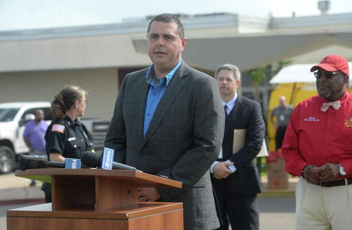 Hardin County Judge Wayne McDaniels comments as representatives from multiple Southeast Texas counties annnounce the opening of a drive-thru testing unit for COVID-19 at Jack Brooks Regional Airport Monday. Photo taken Monday, March 23, 2020 Kim Brent/The Enterprise