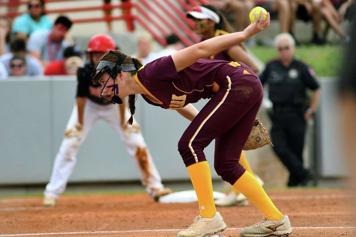 Deer Park senior pitcher Erin Edmoundson works to junior catcher Ash Wade in the bottom of the first inning against Katy during game two of their Class 6A Region III final series at Cougar Softball Stadium on the campus of the University of Houston on Friday, May 26, 2017. (Photo by Jerry Baker/Freelance)