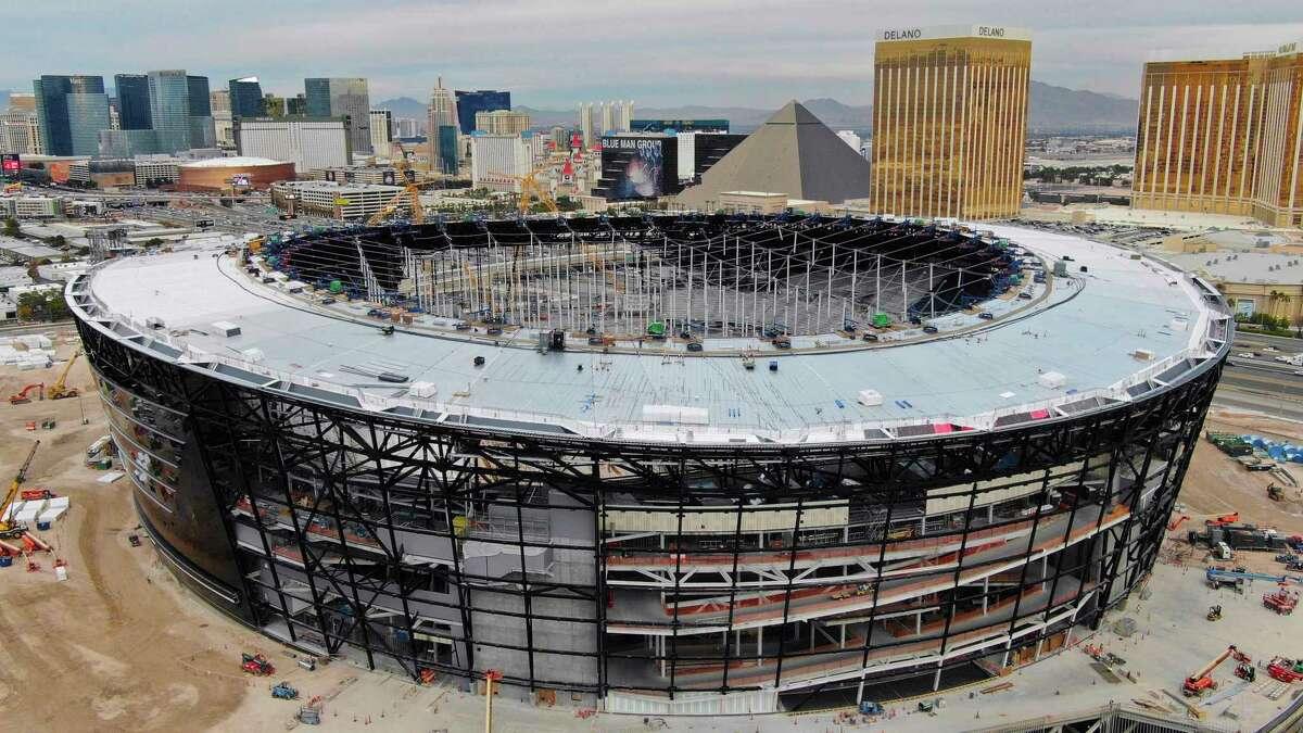 This Dec. 18, 2019 photo shows an aerial view of Allegiant Stadium ,the new NFL football stadium under construction in Las Vegas.