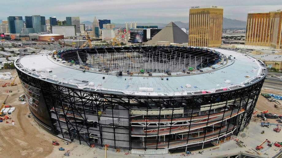 This Dec. 18, 2019 photo shows an aerial view of Allegiant Stadium ,the new NFL football stadium under construction in Las Vegas. Photo: Michael Quine, AP / Las Vegas Revew-Journal