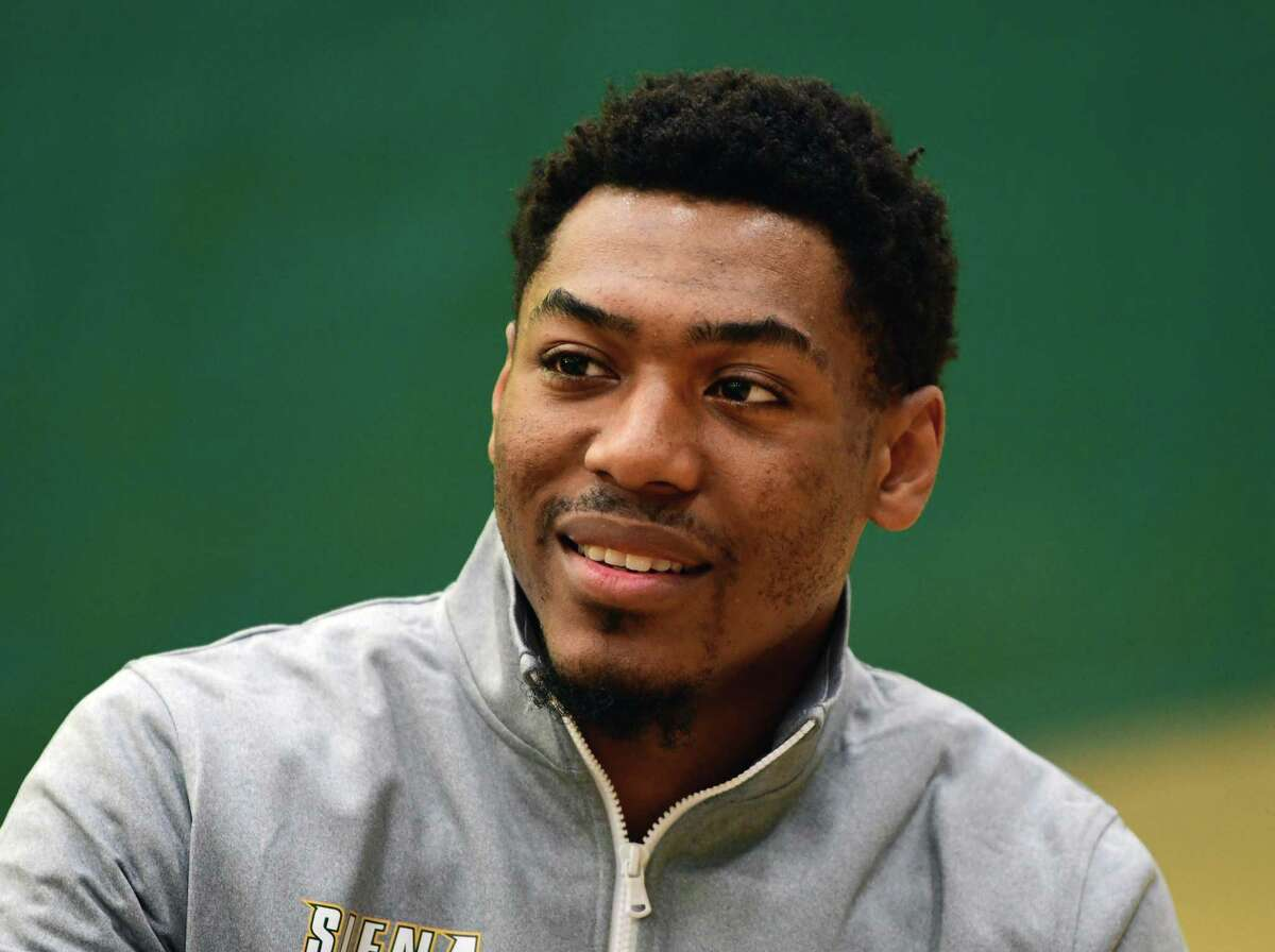Sophomore point guard Jalen Pickett, #22, during Siena men's basketball media day on Wednesday, Oct. 16, 2019 in Loudonville, N.Y. (Lori Van Buren/Times Union)