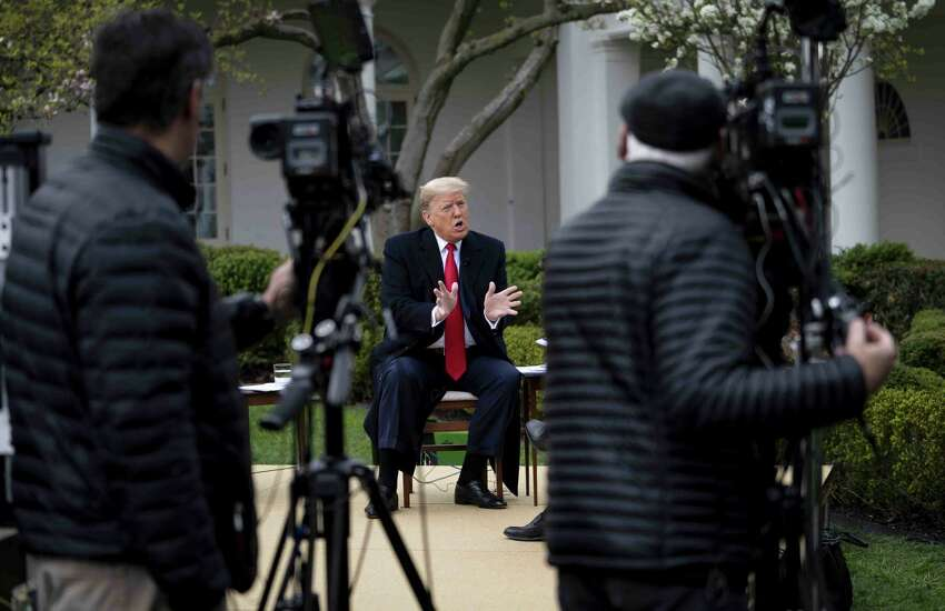 U.S. President Donald Trump speaks during a Fox News virtual town hall with in the Rose Garden of the White House in Washington, D.C., U.S., on Tuesday, March 24, 2020. Trump said he wants to wind down