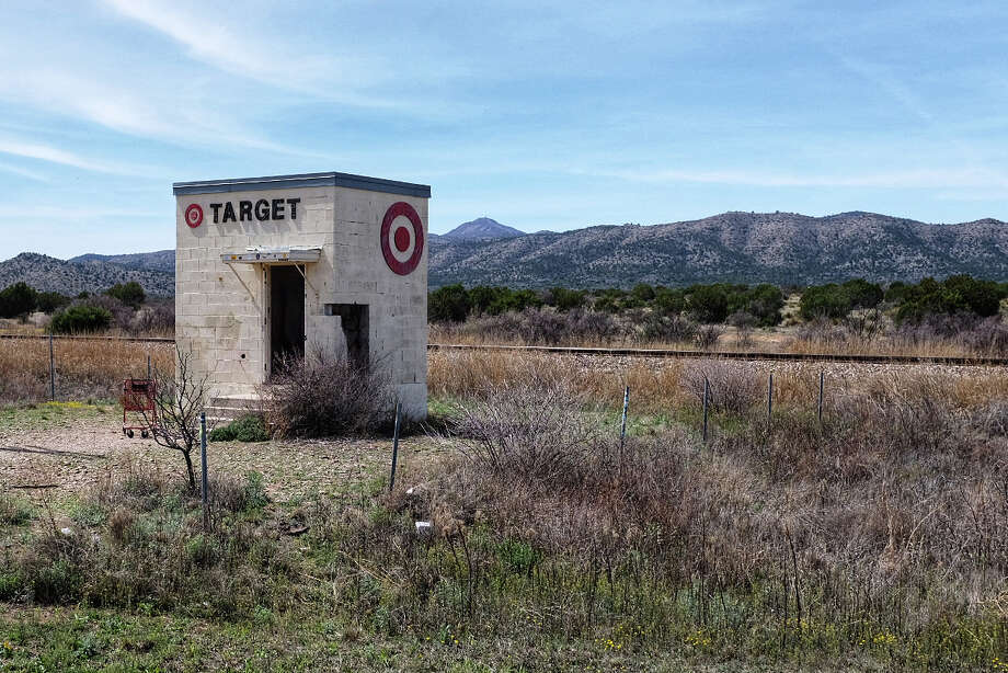 An art installation known as the world's smallest Target store in the desert near Marathon, Texas. Photo: Washington Post Photo By Holly Bailey. / The Washington Post