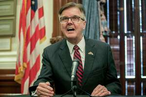 "FILE - In this Friday, June 21, 2019, file photo, Lt. Gov. Dan Patrick speaks at a news conference at the Capitol, in Austin, Texas. Patrick said Monday, March 23, 2020, that the U.S. should go back to work in the face of global coronavirus pandemic and that people who are over the age of 70 can ""take care of ourselves."" His remarks on Fox News came on the same day that Texas Gov. Greg Abbott asked President Donald Trump to declare a major disaster declaration. (Jay Janner/Austin American-Statesman via AP, File)"