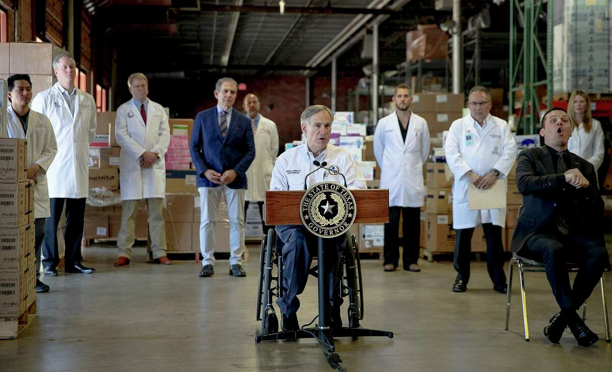 Texas Gov. Greg Abbott speaks during a press conference about the state's response to the coronavirus on Tuesday, March 24, 2020, in Austin, Texas. (Nick Wagner/Austin American-Statesman via AP)