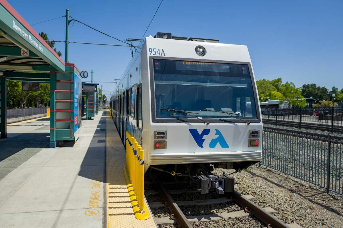 In this file photo, Valley Transit Authority (VTA) light rail train at Mountain View Station in the Silicon Valley, Mountain View, California.