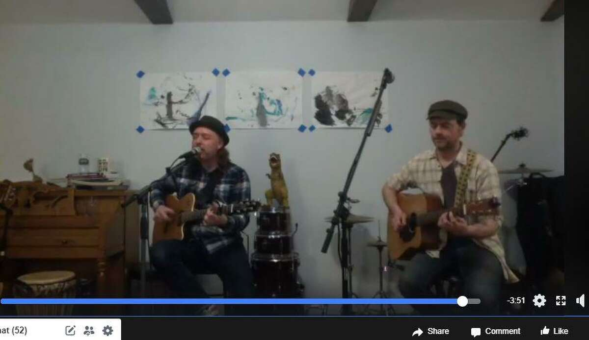 Musicians Steve Rogers, left, and Seth Adam, both of Hamden, in a screen capture from a Facebook livestream that they did on Saturday, March 21, 2020.