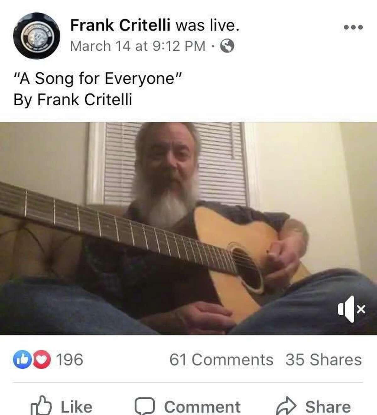 Meriden singer-songwriter Frank Critelli does a Facebook Live livestream on Saturday, March 14, 2020.