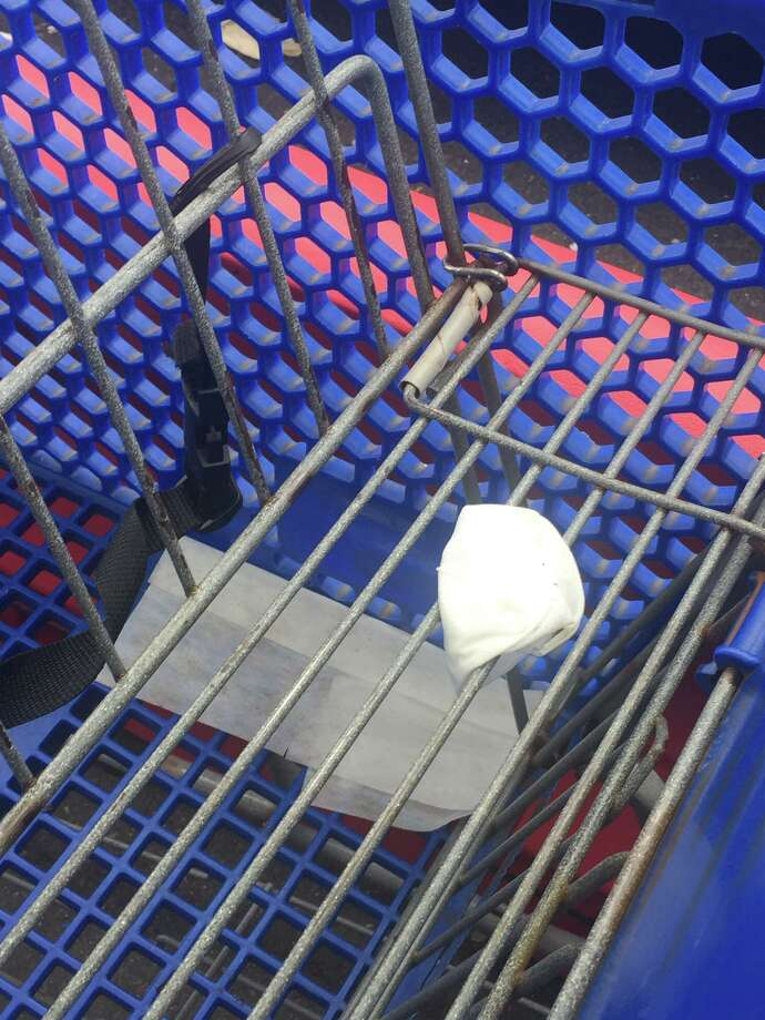 State Rep. Ben McGorty is calling on residents to put used gloves and masks in the trash, not on shopping carts or the ground on parking lots, as seen above at Shop Rite on Bridgeport Avenue. Photo: Contributed Photo / Connecticut Post