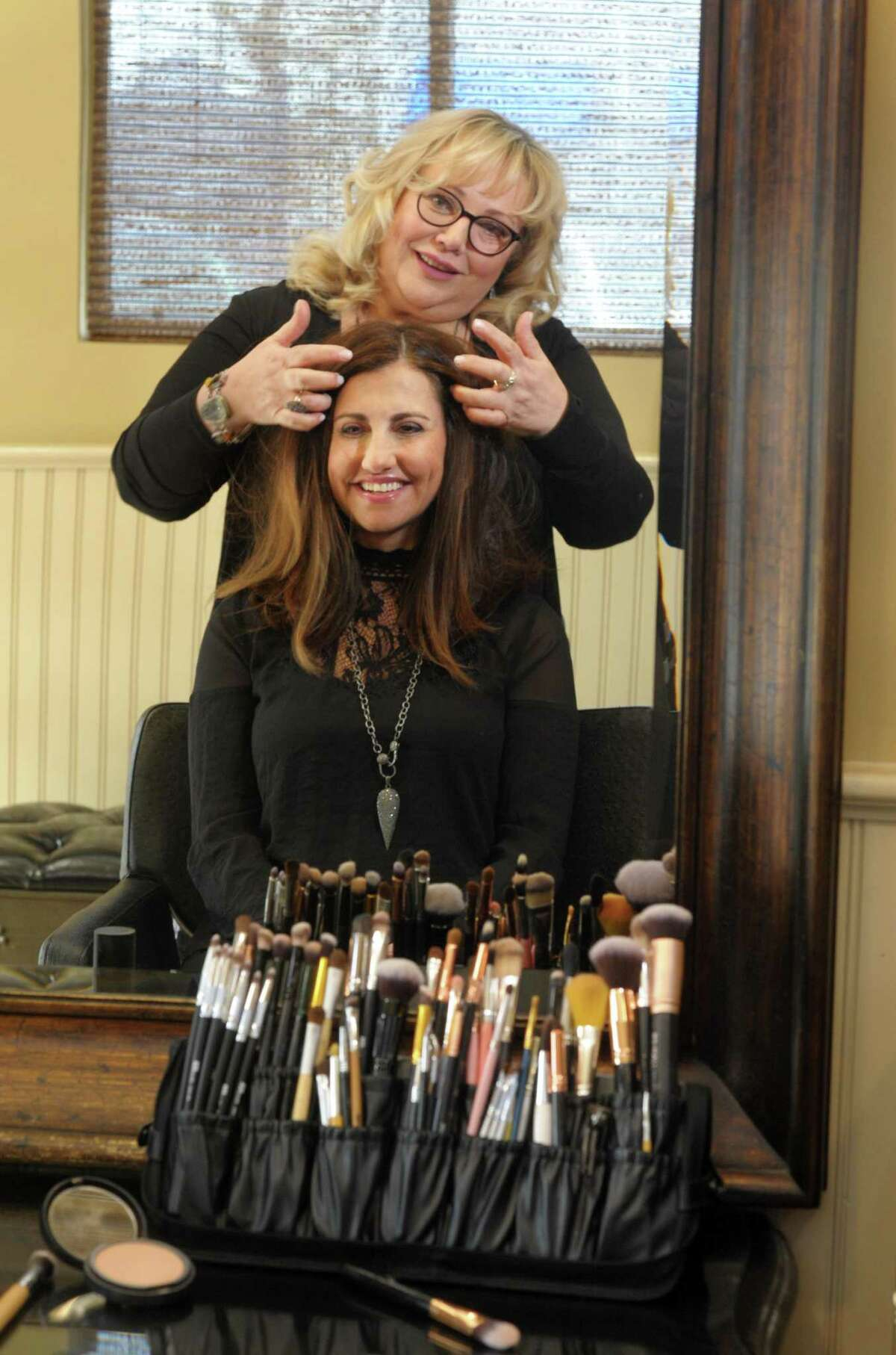 When she's not doing hair and makeup for pro wrestlers and other celebrities, Janet Ventriglia is a stylist at H Salon in Fairfield.