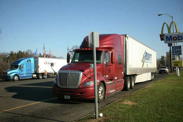 Trucker Evan Omdahl parks at the I-95 southbound rest stop in Fairfield in 2012.