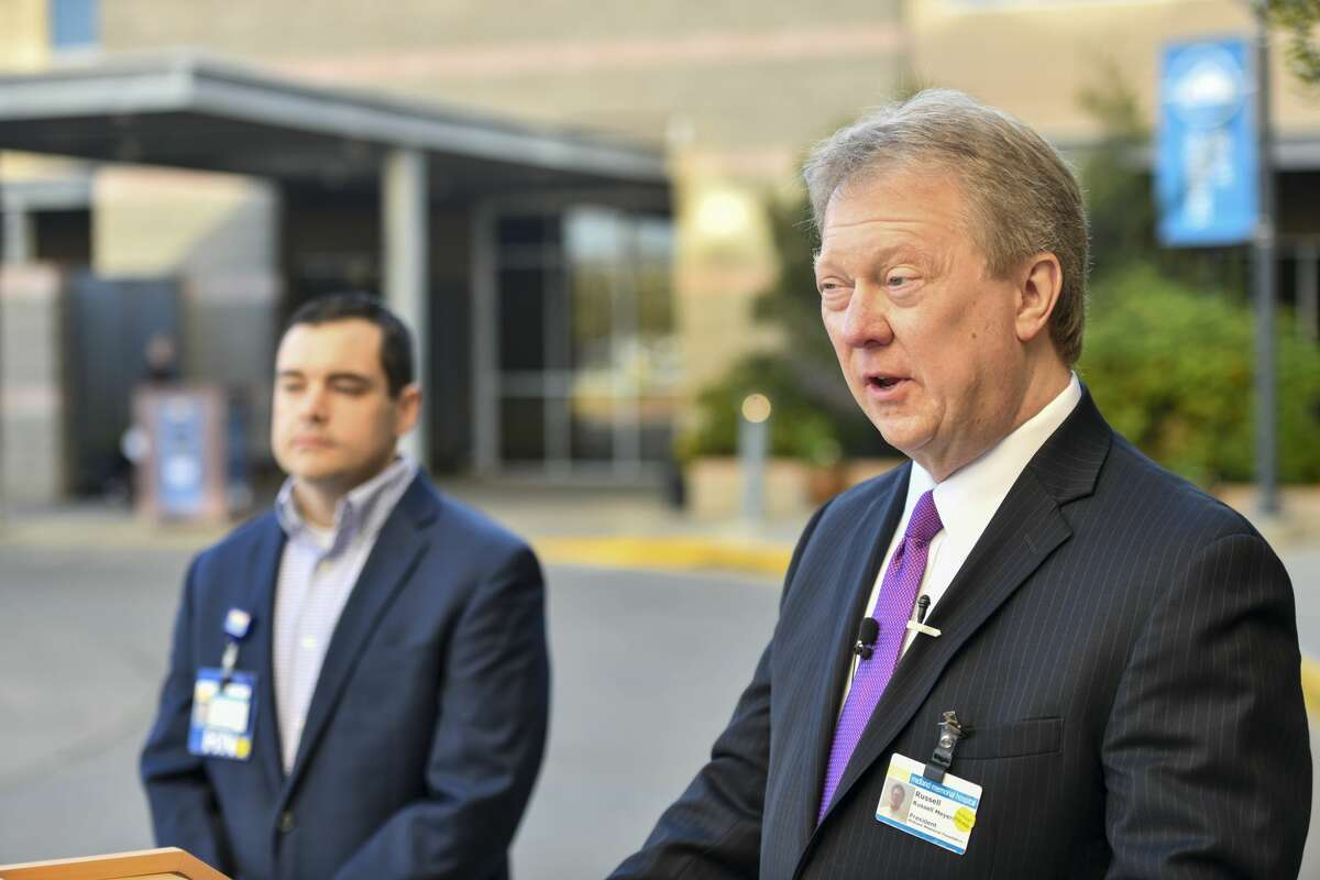 CEO and president Russell Meyers during a press conference last year at Midland Memorial Hospital.