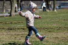 Alison Stoecker, 4, of Schenectady chases bubbles made by her father Larry in Riverside Park in the Stockade on Thursday, March 26, 2020 in Schenectady, N.Y. (Lori Van Buren/Times Union)