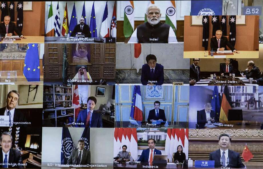 Leaders of the Group of 20 nations discuss the coronavirus crisis during an emergency virtual summit. They have faced criticism for not taking cohesive action against the outbreak. Photo: Getty Images