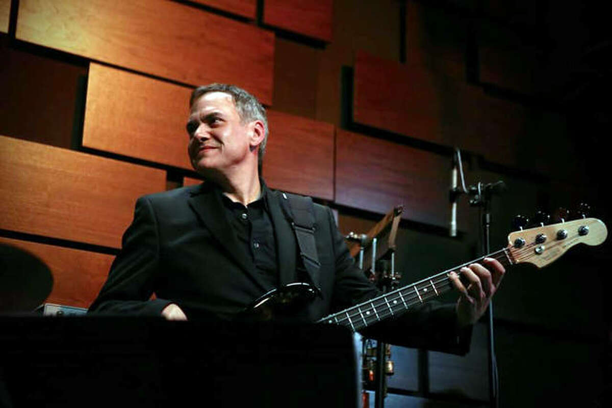 Zeb Briskovich, an adjunct professor and jazz bass instructor at SIUE, performs during a recent show at Jazz St. Louis with David Grelle's Playadors. The coronavirus has led to the cancellation of live gigs for Briskovich, but he is still teaching students via online lessons.