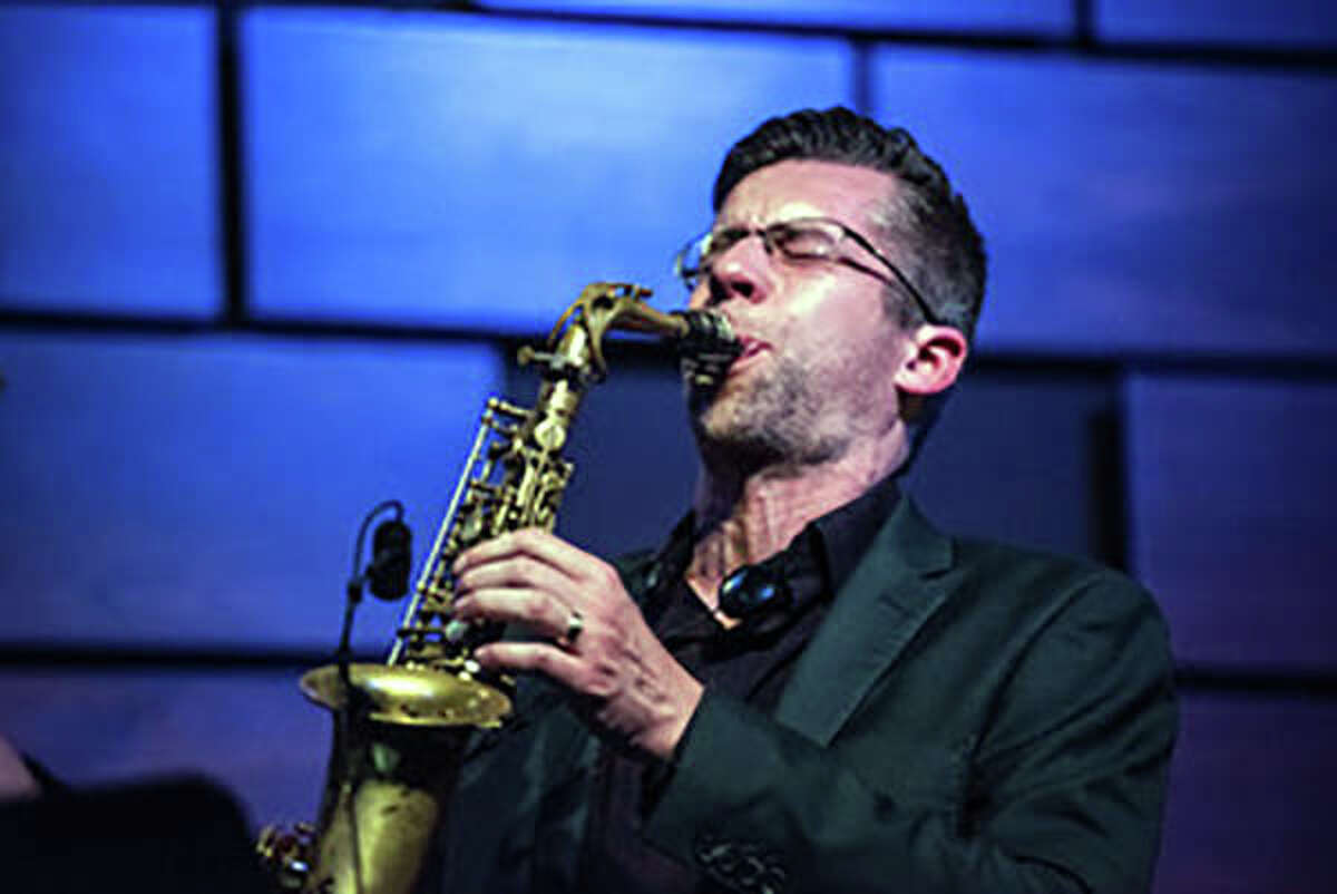 Jason Swagler, director of jazz studies at SIUE, performs during a recent concert. The COVID-19 pandemic has forced the cancellation of Swagler's upcoming shows, but he is still able to provide online instruction to his students.