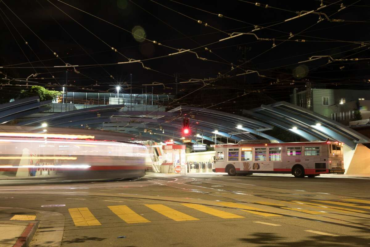 A San Francisco Muni light rail train enters the West Portal Station in San Francisco, Calif. on March 26, 2020.