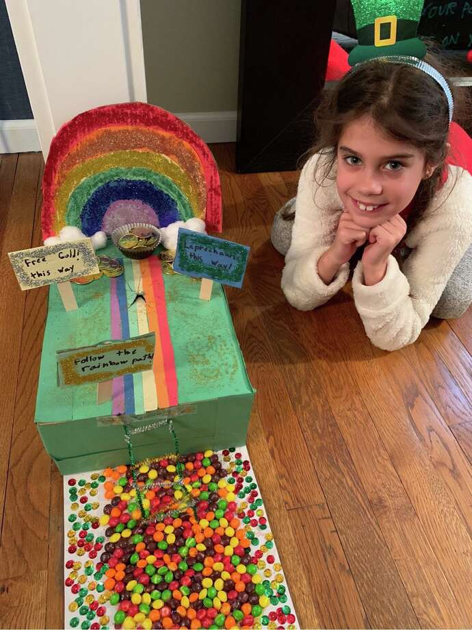 Second grader Charlotte Adrian presents her Leprechaun Traps — a STEM project assigned during distance learning with St. Aloysius School. The school is located at 33 South Avenue in New Canaan. Photo: Contributed Photo