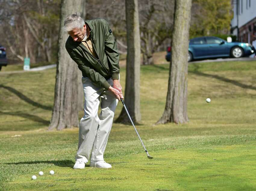 George Hillenbrandt of Guilderland practices his chipping to get ready for the golf season at Schenectady Municipal Golf Course on Thursday, March 26, 2020 in Schenectady, N.Y. (Lori Van Buren/Times Union)