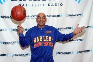 """NEW YORK, NY - FEBRUARY 13: Harlem Globetrotter Fred """"Curly"""" Neal visits SiriusXM Studio on February 13, 2012 in New York City. (Photo by Taylor Hill/Getty Images)"""