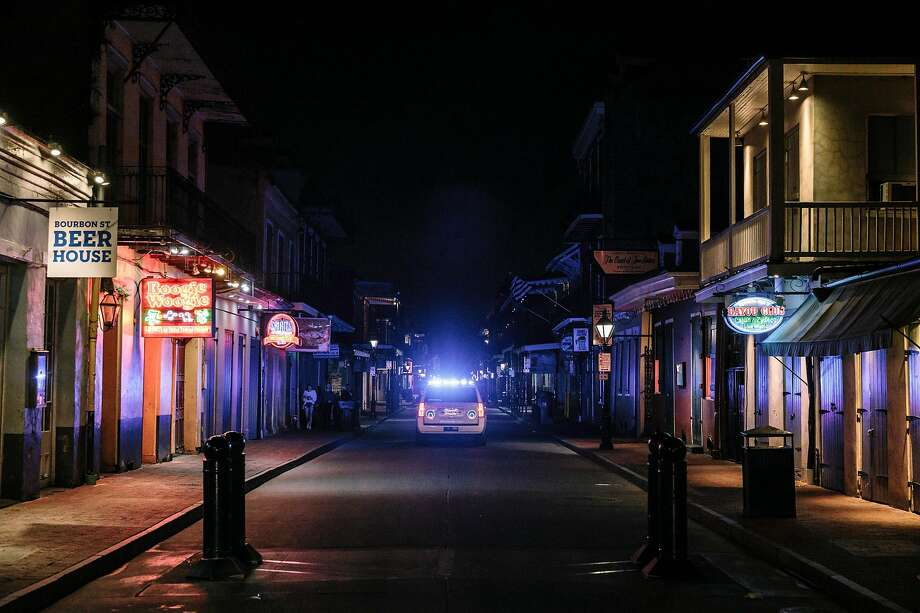 A deserted Bourbon Street in New Orleans, March 18, 2020. Louisiana may be experiencing the world's fastest growth in new cases of the coronavirus. Medical experts said Mardi Gras might have accelerated the crisis.  (William Widmer/The New York Times) Photo: William Widmer / New York Times