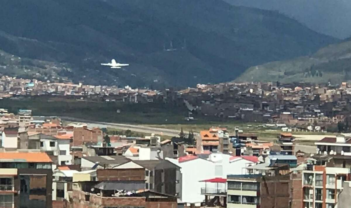 A picture of a plane carrying Americans, taken from the Cusco hotel where more than a dozen members of Durwesh Khalfe's travel group are still stranded.