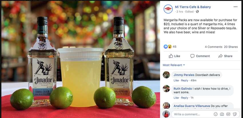 At Mi Tierra, margarita packs are now available for purchase for $20. Included is a quart of margarita mix, four limes and your choice of one Silver or Reposado tequila.Mi Tierra, 218 Produce Row,(210) 239-9215, mitierracafe.com.