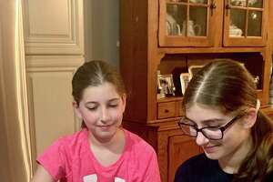 Co-presenters of the coronavirus youth webinar and Norwalk students Audra and Alexa Lacomis at their Norwalk, CT, home.