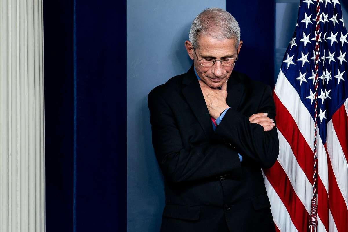 Dr. Anthony Fauci, director of the National Institute of Allergy and Infectious Diseases, during a news conference at the White House in Washington, Wednesday, March, 25, 2020. (Erin Schaff/The New York Times)