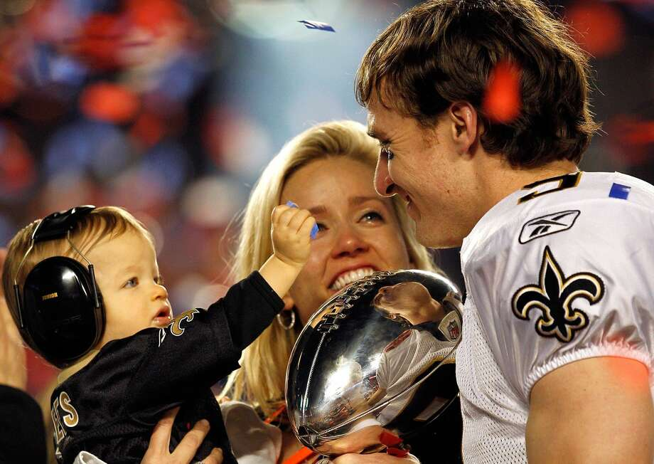 MIAMI GARDENS, FL - FEBRUARY 07: Drew Brees #9 of the New Orleans Saints celebrates with his son Baylen Brees and wife Brittany Brees after defeating the Indianapolis Colts during Super Bowl XLIV on February 7, 2010 at Sun Life Stadium in Miami Gardens, Florida. (Photo by Jonathan Daniel/Getty Images) Photo: Jonathan Daniel/Getty Images / 2010 Getty Images