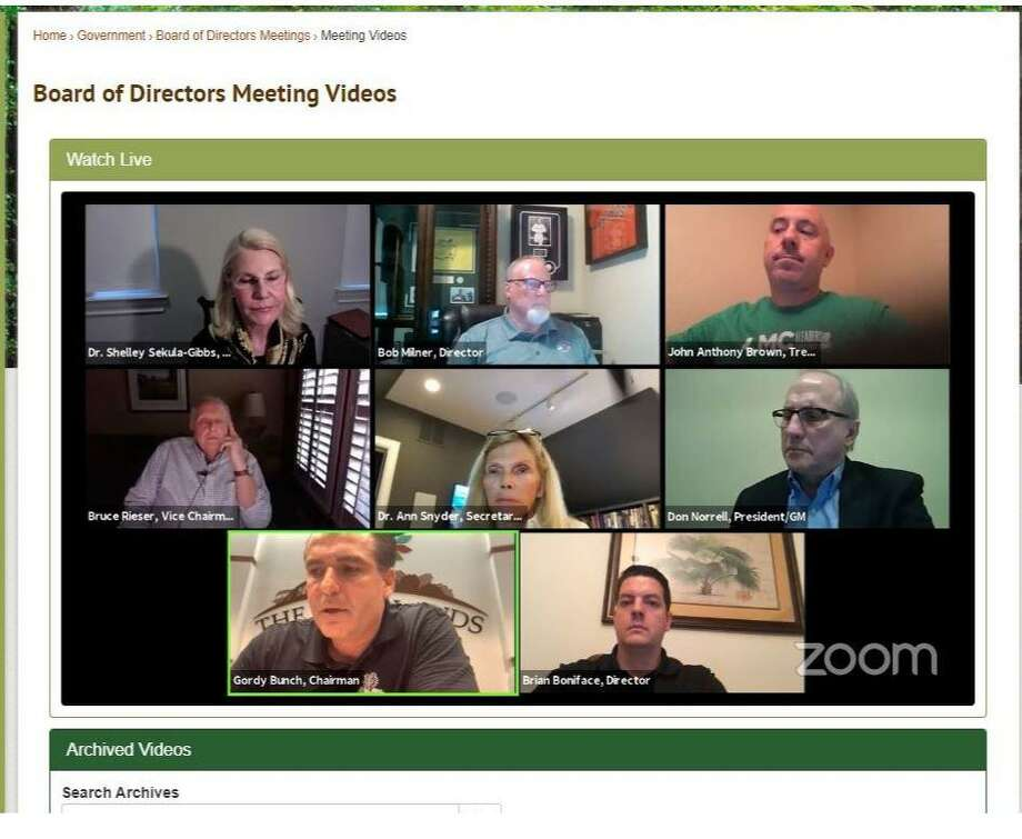 """The Woodlands Township Board of Directors hosted the first """"virtual"""" online meeting in township history Wednesday night, March 25, with the seven directors using a video conferencing computer program called """"Zoom"""" to conduct about a 90 minute meeting. Photo: Courtesy Image / Courtesy Image"""