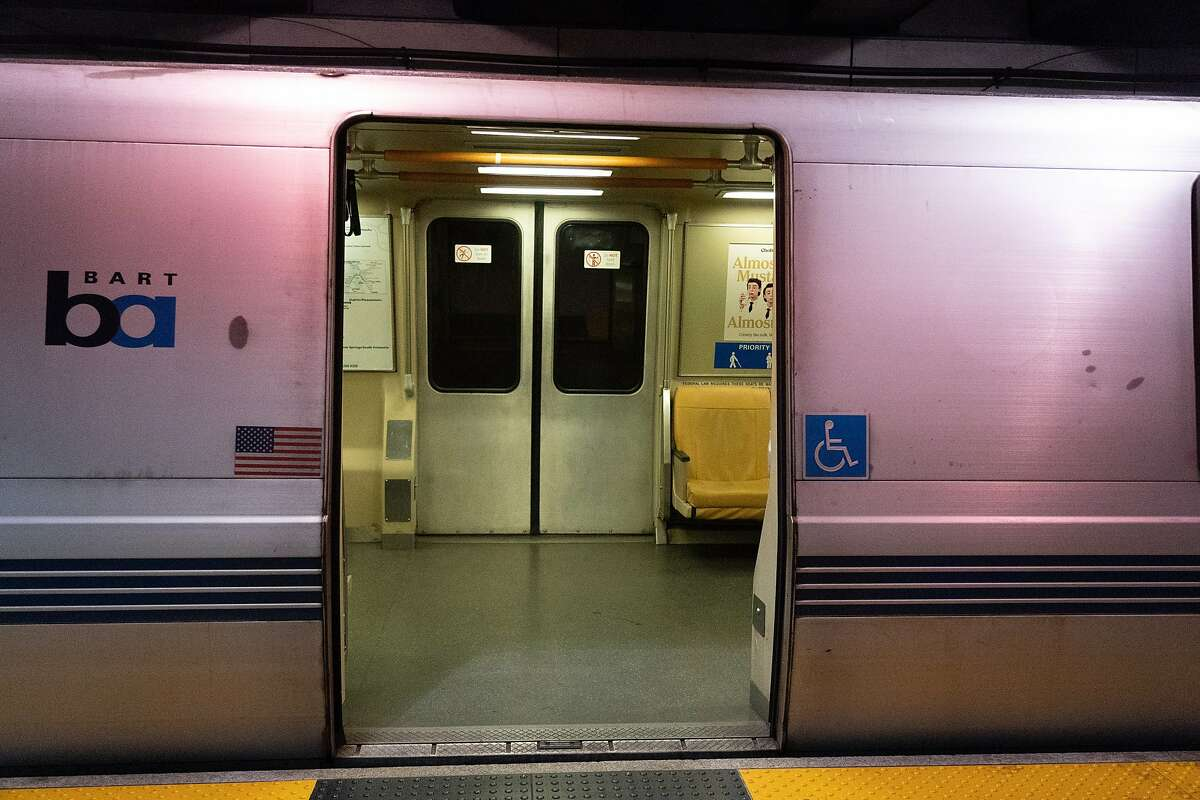 A BART train stops at the Embarcadero Station on March 19, 2020 in San Francisco, Calif.