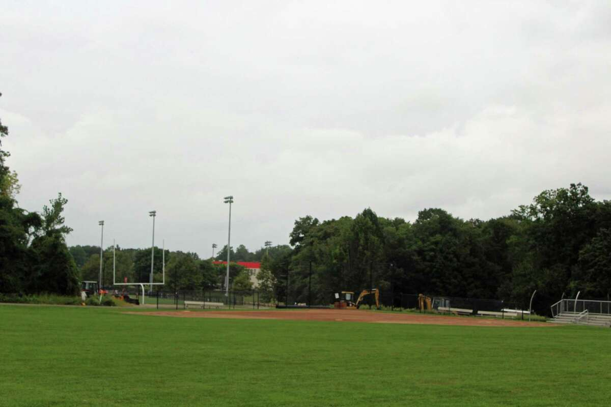 New Canaan recently re-opened the water tower turf fields in Waveny Park, Sunday, May 24, 2020, after the coronavirus forced them closed in March. Monitors are on duty from 9 a.m to 7 p.m., daily, to maintain orderly recreation with proper social distancing, and groups of less than five persons. No team, or organized group activity is permitted on the turf fields. Sunday, May 24, was also the day a flyover took place above the town to thank all first responders including the town's police department, fire department, emergency medical services, the Community Emergency Response Team, (CERT), (and), all doctors, nurses, and veterans.