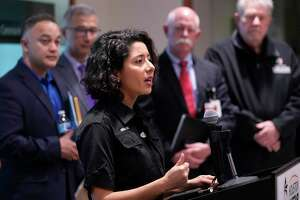 Lina Hidalgo, Harris County Judge, speaks about the coronavirus to the media at Harris County Office of Homeland Security and Emergency Management, 6922 Katy Rd. on March 5, 2020, in Houston.