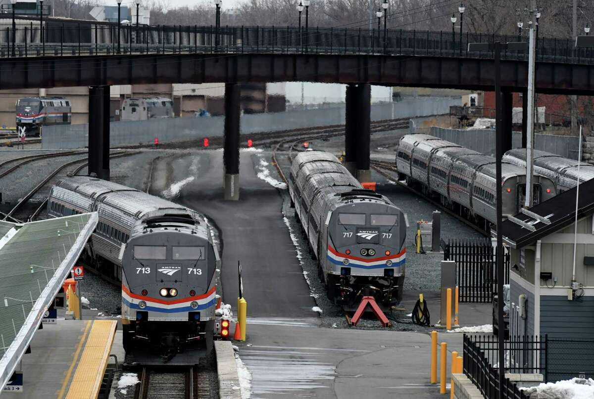 Amtrak trains sit at the Albany-Rensselaer station on Wednesday, March 25, 2020, in Rensselaer, N.Y. Gov. Phil Scott of Vermont has suspended Amtrak service to the state to prevent the spread of the coronavirus. (Will Waldron/Times Union)