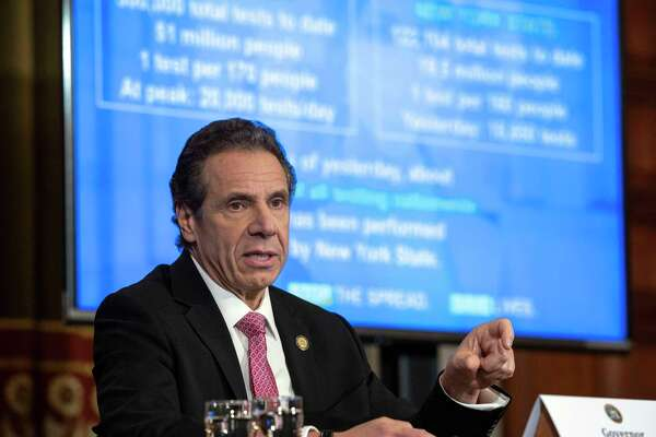 Gov. Andrew Cuomo provides a coronavirus update during a briefing on Thursday, March 26, 2020, in the Red Room at the Capitol in Albany, N.Y. (Office of Gov. Andrew Cuomo)