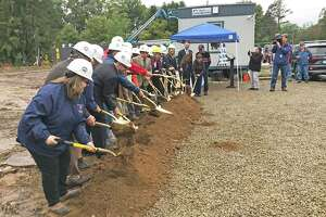 East Hampton breaks ground for the new town hall/police station in 2018. Completion has been delayed.