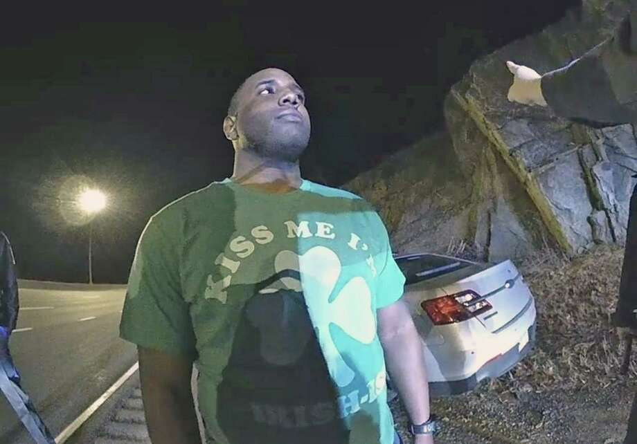 Connecticut State Police Trooper Shaquille Williams performs a field sobriety test on Monday, March 16, 2020. Seen here on body camera footage of one of the responding troopers. Photo: Contributed Photo / Connecticut State Police